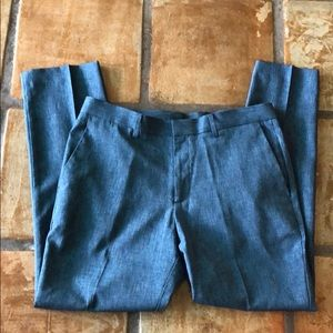 Perry Ellis flat front blue dress pants 34x30